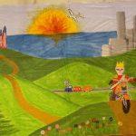 Kulissenmalen Cinderella 2005 - Bild 5 - Der Prinz reist auf dem Motorrad durch ganz Land