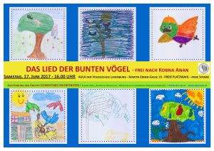 Plakat gestaltet aus Szenen der Geschichte Das Lied der bunten Vögel von den Kindern der Gruppe Elementares Musiktheater