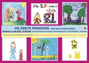 Plakat mit Szenen aus der Geschichte der Zweiten Prinzessin gestaltet von den Kindern der Gruppe Elementares Musiktheater