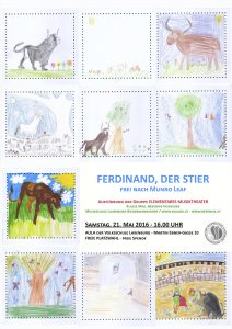Plakat mit Szenen aus der Geschichte von Ferdinand dem Stier gestaltet von den Kindern der Gruppe Elementares Musiktheater
