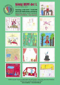 Plakat mit Szenen aus der Geschichte von König Hupf dem Ersten gestaltet von den Kindern der Gruppe Elementares Musiktheater