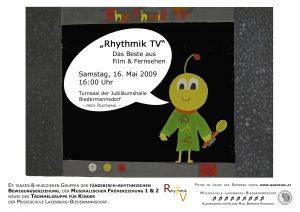 Plakat Rhythmik TV Biedermannsdorf - Fernseher mit Maskottchen